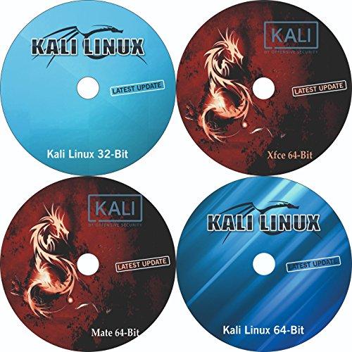 (2018.1 Latest Version) Kali Linux 64 Bit + Kali Linux Mate 64-Bit + Kali Linux Xfce 64 Bit + Kali Linux 32 Bit Bootable Installation 4 in 1 DVD Combo