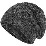 Compagno warm gefütterte Beanie Wintermütze angesagtes Strickmuster Fleece-Futter Mütze Einheitsgröße, Farbe:Samt Grau