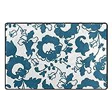 MALPLENA Malplee dunkelblauer Nelkenteppich Fußmatte für Wohnzimmer/Esszimmer/Schlafzimmer/Küche, Rutschfest, Polyester, 1, 60 x 39 inch