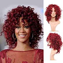 Royalvirgin Moda Rihanna peluca pelucas de pelo lleno lleno del casquillo peluca rizada peluca roja rizada