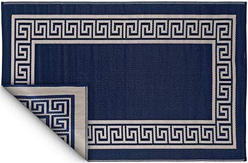 Fabhabitat Tapis intérieur extérieur Athens Bleu Marine et crème 180 x 120 cm