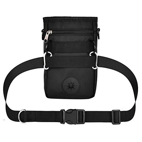 Vivifying - Borsetta per addestramento cani, cinturino regolabile e dispenser di sacchetti igienici per cani cani, colore: nero