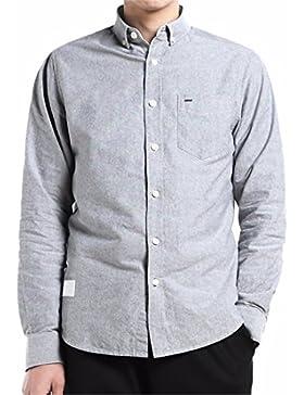 QIYUN.Z Manga Larga De Oxford De Los Hombres De Color Sólido De La Camisa Abajo Camisa Regular De Ajuste Regular