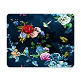 BGLKCS 75th Birthday Mouse Pad, Royal Birthday Party Floral Invitation Ceremony Please Join Us, Standard Size Rectangle Non-Slip Rubber Mauspads, Gold Vermilion Silver