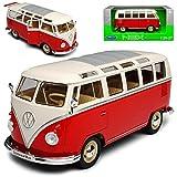 alles-meine GmbH VW Volkswagen T1 Rot Weiss mit Dachfenster Samba Bully Bus 1950-1967 1/24 Welly Modell Auto mit individiuellem Wunschkennzeichen
