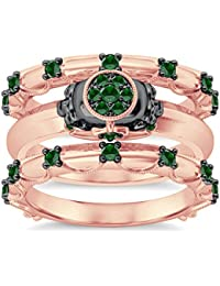 Silvernshine 9K Rose Gold Plated 1.2Ct Round Cut Green Peridot CZ 3PC Cluster Setting Skull Ring