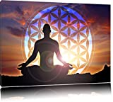 Meditierender Mensch Blume des Lebens Format: 120x80 auf Leinwand, XXL riesige Bilder fertig gerahmt mit Keilrahmen, Kunstdruck auf Wandbild mit Rahmen, günstiger als Gemälde oder Ölbild, kein Poster oder Plakat