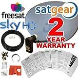 Satgear - Antena parabólica HD zona 2 para Sky/Freesat (Quad LNB, soportes, accesorios de montaje y cable gemelo de 30 m) [Importado de Reino Unido]