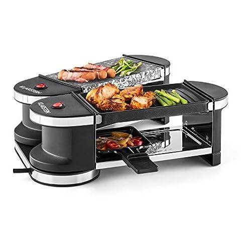 Klarstein Tenderloin Mini 50/50 Grill-raclette • Grill de table • Grill festif • puissance: 600 Watt • 4 poelons • articulé à 360 ° • 1 plaque de grill en métal et 1 plaque en pierre naturelle