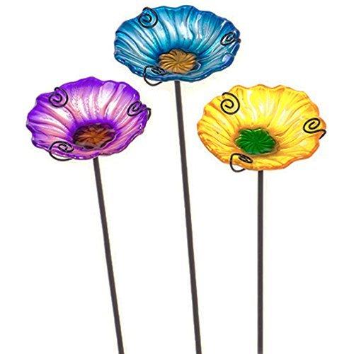 Vogel-Tränke Blüten Blumen 3er Set Stecker Metall Glas Futterschale Vogelbad Vogeltränke Topfstecker Außenbereich Innenbereich Gartenstecker blau gelb lila. Von Haus der Herzen®