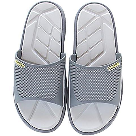 Slip On Zapatillas sandalias de ducha antideslizante zapatos de empeine casa Mule de malla piscina baño Slide para adultos, gris, 11.5 UK
