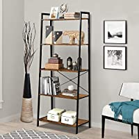 LENTIA Storage Shelves Ladder Bookshelf Industrial Bookcase Shelving Unit Plant Stand with Metal Frame (5 Tier, Rustic Brown)