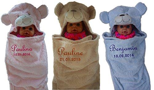 Bébé couverture Nid d'ange en 3 couleurs avec nom brodé Couverture pour bébé 3D capuche cadeau baptême naissance