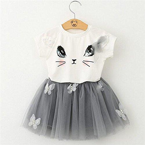 Yinew Weißes T Shirt mit Grauer Rock Sommer Kinderkleidung Süße Katze T Shirt + Garn Rock Set 120cm