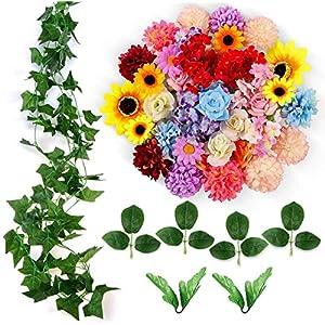 ETEREAUTY Kunstblumen, 47 Stück Deko Blumen mit Rebe und der blätter, ca. Ø 4-5 cm, 5 Sorten Blumen Rose, Sonnenblume…