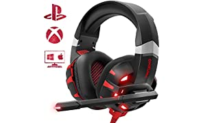 Cuffie Gaming Per PS4, Auricolare Cuffie per Nintendo Switch PC PS4 Con Microfono LED Luce Regolatore ONIKUMA Xbox One Headset Con Grandi Altoparlanti da 50mm / Cancellazione Rumore / Suono Stereo