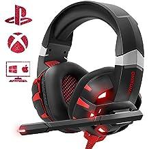 Cascos Gaming para PS4 o PC, ONIKUMA Auriculares Gaming ps4 con Microfono y Luz LED,Auriculares de Diadema con Sonido Envolvente y Cancelacion Ruido Headset para Nintendo Switch PC Xbox One Y Móvil