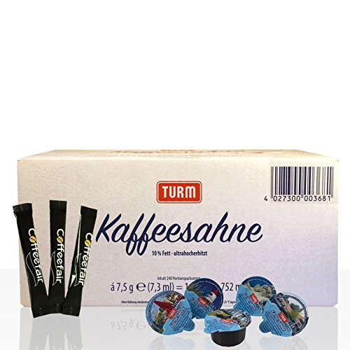Set | Turm Kaffee-Sahne 240 Stk & Coffeefair Zucker-Sticks 1000 x 4 g