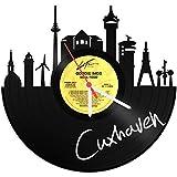 GRAVURZEILE Skyline Cuxhaven Wanduhr aus Vinyl Schallplattenuhr Upcycling Design Uhr Wand-Deko Vintage-Uhr Wand-Dekoration Retro-Uhr Made in Germany