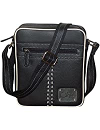 Style98 Medium Pure Leather Unisex Crossbody Sling Bag - Black