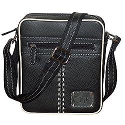 Style98 Medium 100% Genuine Leather Leather Unisex Crossbody Sling Bag||Neck pouch|| Shoulder Bag||Handbag||Messenger Bag - Black