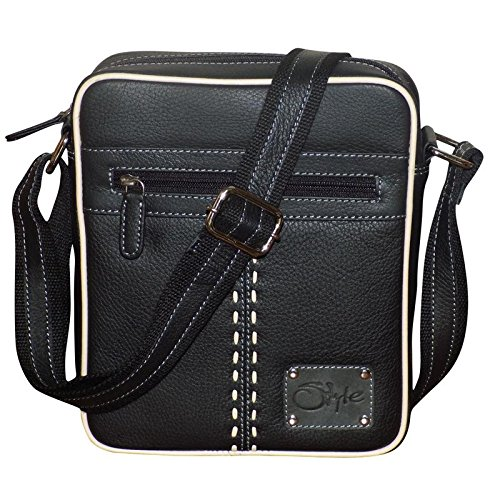 Style98 Medium Pure Leather Unisex Crossbody Sling Bag - Black