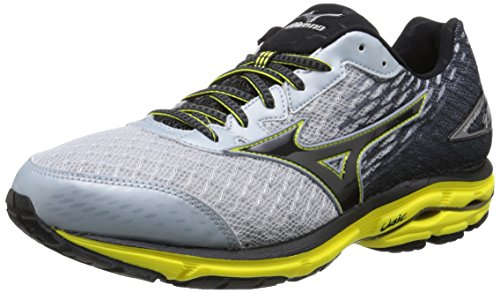 Mizuno Wave Rider 19 Large Synthétique Chaussure de Course Grey-Black-Yellow