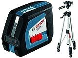 Bosch Professional GLL 2-50, 20 m Arbeitsbereich (ohne Empfänger), Baustativ, Schutztasche, Laserzieltafel, L-BOXX-Einlage, Ausrichtscheibe