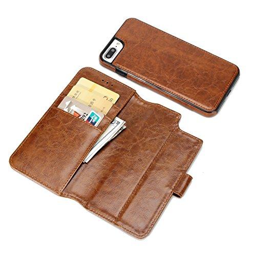 BCIT iPhone 7 Plus Leder Handytasche - Geldbörse mit Kartenfach abnehmbar Magnet Handy Schutzhülle für iPhone 7 Plus - Blau Braun