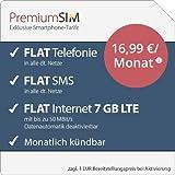 PremiumSIM LTE L Allnet Flat [SIM, Micro-SIM und Nano-SIM] monatlich kündbar (FLAT Internet 7 GB LTE mit max. 50 MBit/s mit deaktivierbarer Datenautomatik, FLAT Telefonie, FLAT SMS und FLAT EU-Ausland, 16,99 Euro/Monat)