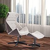 Homcom – Poltrona Design Eames Style Reclinabile con Poggiapiedi - Comfort Relax Ottomano 60×70×104-115cm Grigio Chiaro