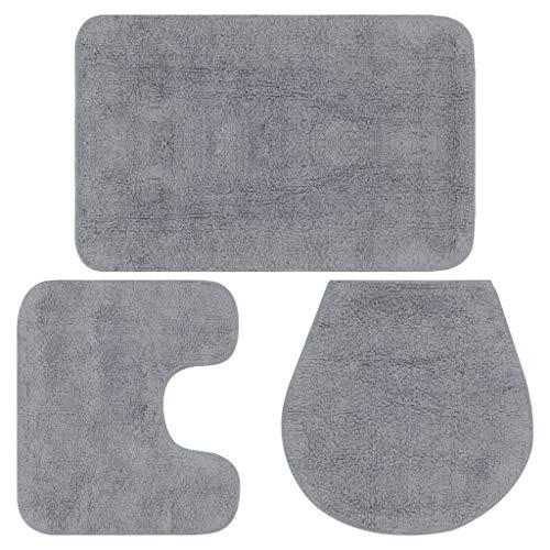 Vidaxl 133222 - tappetino da bagno, 3 pezzi tappetino per il bagno, colore: grigio, dimensioni: 50 x 78 cm (larghezza x lunghezza)