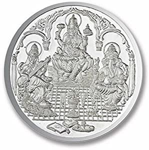 Ananth Jewels BIS HALLMARKED 999 Purity Silver Coin Ganesha + Lakshmi + Saraswati 2.5 grams Pack of 2 ( Total 5 Grams )