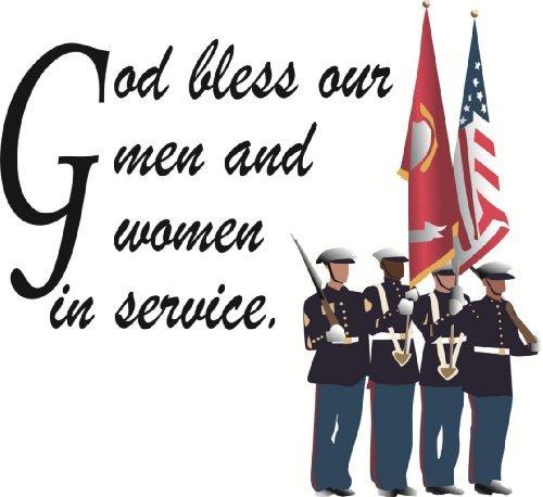 Wandtattoo/Wandaufkleber aus Vinyl, Motiv God Bless Our Men/Army Navy Troops/America Life Soldier/America Life Soldier -