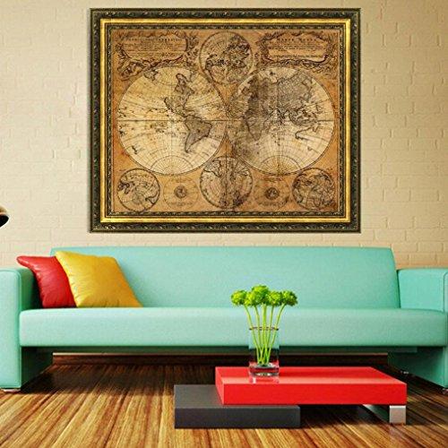 Ouneed® Wandaufkleber Wandtattoo Wandsticker , Vintage Stil Retro Tuch Poster Globe Old World Seekarte Geschenke (braun)
