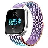 Wallfire Bracelet de Remplacement en Acier Inoxydable Mesh Magnetic Lock Wrist Band Bracelet pour Fitbit Versa Smart Watch Watchbands Bracelet (Color : Colorful, Size : Large)
