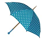 2. Wahl - Schirm blau weiße Punkte - Kinderschirm Kinder Stockschirm Regenschirm - gepunktet Punkt Mädchen 90 cm