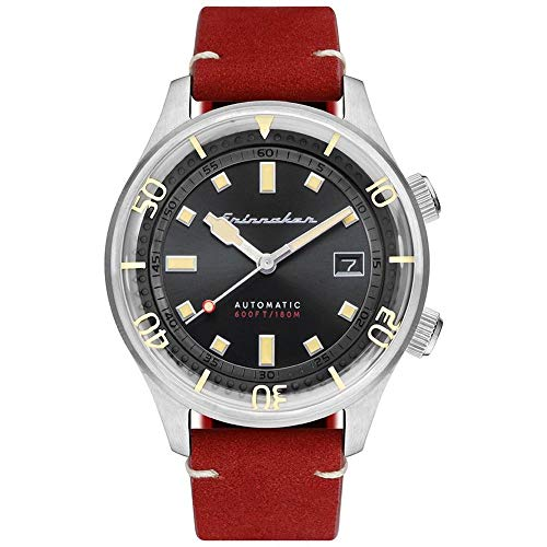 SPINNAKER Men's Bradner 42mm Red Leather Band Steel Case Automatic Black Dial Analog Watch SP-5062-01