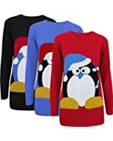 Oromiss Ladies Womens Knitted Christmas Jumper Candy Cane Penguin Novelty Xmas Sweater X24