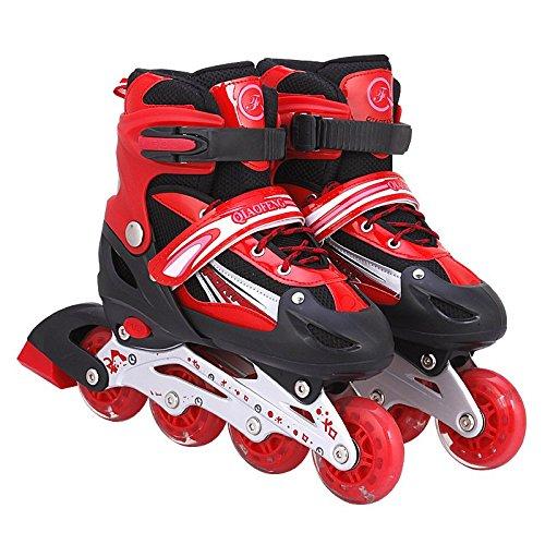 Inliner Inline-skates für Kinder - Größenverstellbar über vier Größen - mit Leuchtende Rollen - Rot - Gr. S (31-34)