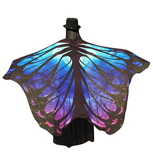 Schmetterling Kostüm Dasongff Frauen Schmetterling Flügel Schal Loose Strickjacke Top Shirt Bluse Butterfly Wings Shawl Halloween Cosplay Kostüm Weihnachten Kostüm 197*125CM (197*125CM, Blau)