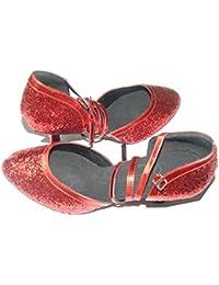 Colorfulworldstore Zapato de baile moderno con lentejuelas rojas