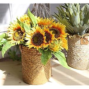 ARTSTORE Flores artificiales de 7 tallos de seda de girasol realistas, perfectas para bodas, fiestas, cumpleaños…
