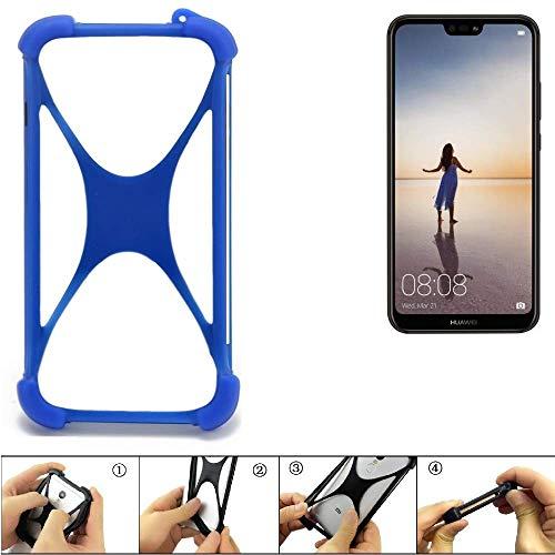 K-S-Trade Handyhülle Huawei P20 Lite Single-SIM Silikon Schutz Hülle Cover Case Bumper Silikoncase TPU Softcase Schutzhülle Smartphone Stoßschutz, blau (1x)