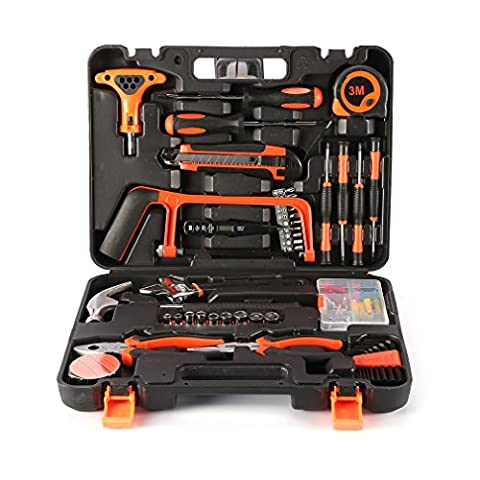 LESHP Toolkit, 82-Piece Precision Tools DIY Home Household Tool kit Set with Combination Pliers in Storage Box Case, Including Wrenches Sockets Spanner - Great Gift for Hand Tools (82-Piece)