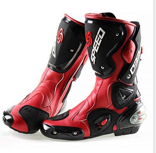 Stivali Moto da Pista Racing Professionale Antiscivolo Traspirante Impermeabile (Rosso, 41)