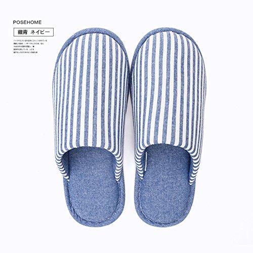 DogHaccd pantofole,Home matura in autunno e inverno caldo spessa coperta di cotone femmina pantofole rimanere morbida antiscivolo e cadere sul pavimento pantofole Blu scuro4