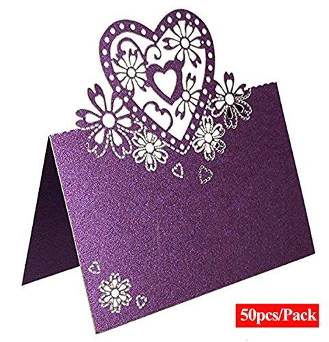ALPHA DIMA 50 Stück Tischkarten Platzkarten Papier Namenskärtchen Tischkärtchen Name Tags Tischkarten für Hochzeiten Partys,Geburtstagsfeier,Valentinstag Dekor(Lila)