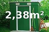 ASS Gartenhaus Geräteschuppen Metallhütte 2,38m² 1,95x1,22m aus verzinktem Stahlblech Metall grün von