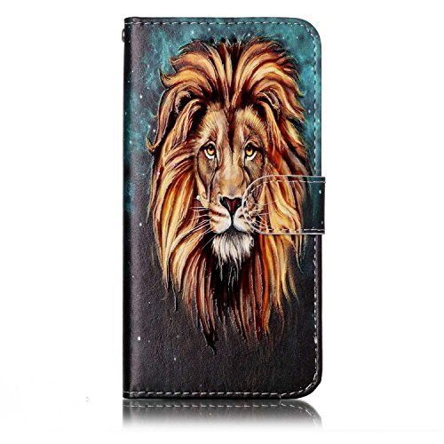 Coque Etui pour LG G6,LG G6 Coque Portefeuille PU Cuir Etui,LG G6 Coque de Protection en Cuir Folio Housse, iPhone 7 Leather Case Wallet Flip Protective Cover Protector, Ukayfe Etui de Protection PU C Lion
